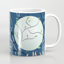 Art Nouveau Moon with Doves (Blue and Silver) Coffee Mug