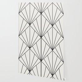 Diamond Series Sun Burst Charcoal on White Wallpaper