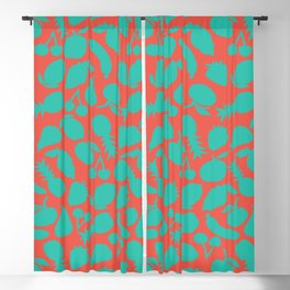 Fruit Salad (coral teal) Blackout Curtain