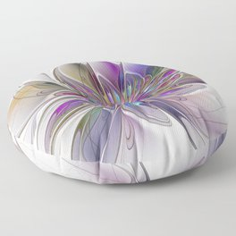 Energetic, Abstract And Colorful Fractal Art Flower Floor Pillow