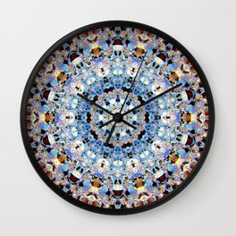Blue Brown Folklore Texture Mandala Wall Clock