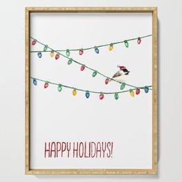 Happy Holidays Chickadee Serving Tray