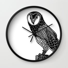 Tangled Barn Owl on White Wall Clock