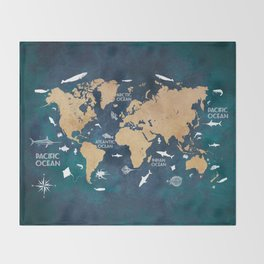 World Map Oceans Life blue #map #world Throw Blanket