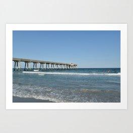 Boardwalk and Ocean / Wilmington Beach, NC Art Print