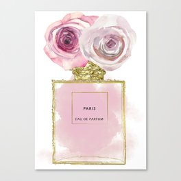 Pink & Gold Floral Fashion Perfume Bottle Canvas Print