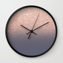 Modern faux rose gold glitter ombre gradient on purple grey Wall Clock