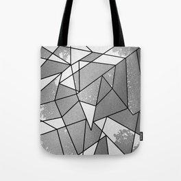 Cool Modern Black Gray Distressed Geometric Pattern Tote Bag
