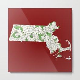 Massachusetts in Flowers Metal Print