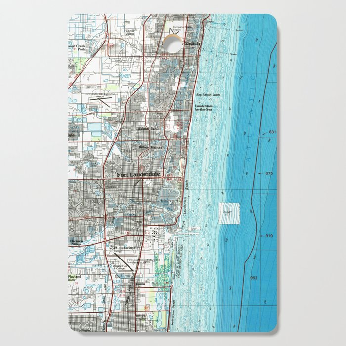 Fort Lauderdale Map Florida.Fort Lauderdale Florida Map 1985 Cutting Board By Bravuramedia