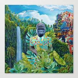 Gorilla in the jungle Canvas Print