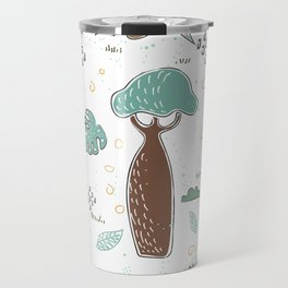 Seamless Pattern with Baobabs and exotic Leaves. Scandinavian Style Travel Mug