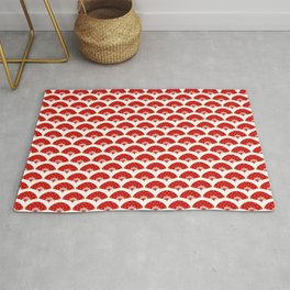 Exotic Red Chinese Dance Fans Pattern on White Rug