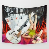 rockabilly Wall Tapestries featuring Rockabilly - Rock n Roll Friday by k_design