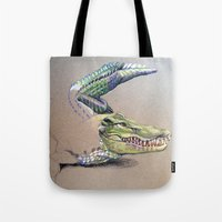crocodile Tote Bags featuring Crocodile by Jeanne Hollington
