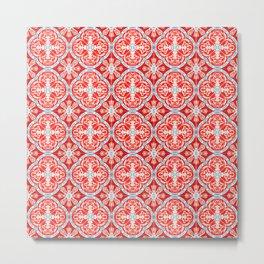 N169 - Red & Pink Heritage Boho Moroccan Tiles Style Illustration Pattern Metal Print