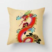 dragon Throw Pillows featuring dragon  by mark ashkenazi
