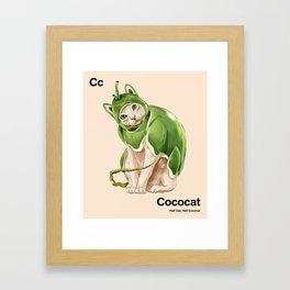Cc - Cococat // Half Cat, Half Coconut Framed Art Print