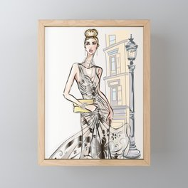 Fashion girls in sketch-style in paris. Art Print Framed Mini Art Print