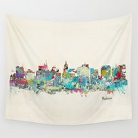 wisconsin Wall Tapestries featuring Madison Wisconsin skyline by bri.buckley