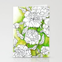 peonies Stationery Cards featuring Peonies by Dheiuk