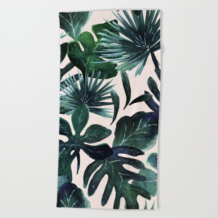 Tropical Leaves - Deep Sea and Blush Beach Towel
