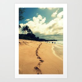 sunset beach footprints Art Print