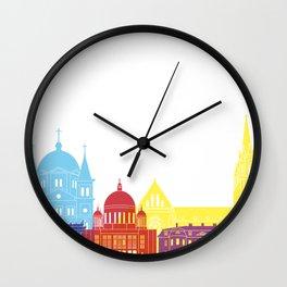 Lodz skyline pop Wall Clock