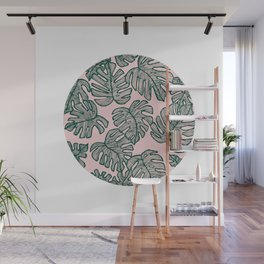 Green and Pink Geometric Tree Leaves Wall Mural