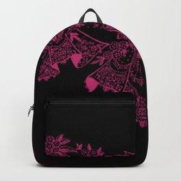 Vintage Lace Hankies Black and Pink Yarrow Backpack