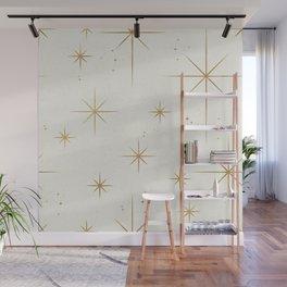 Seamless Pattern Glamorous White Gold Art Deco Stars Constellations Minimalist Geometric Pattern Wall Mural