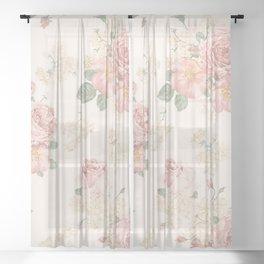 Vintage Retro Flowers Sheer Curtain