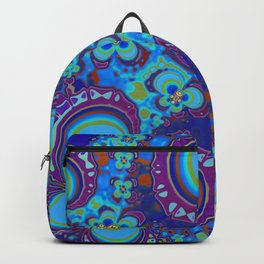 Bright Blue And Purple Flower Pattern Backpack