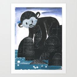 Monkey Exploring a Tide Pool Art Print