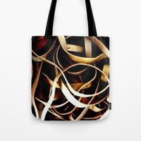 bands Tote Bags featuring Rubber Bands by Carsick T-Rex