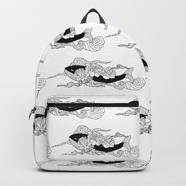 Flying galaxy whale flower Backpack