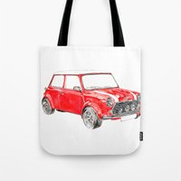 mini cooper Tote Bags featuring Red Mini Cooper by Meg Ashford