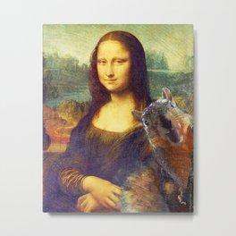 Mona Lisa Squirrel Photo Bomb Pop Art Metal Print