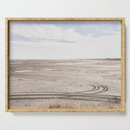 Tracks On An Empty Beach   Terschelling The Netherlands   Ocean Landscape Photography Serving Tray