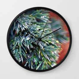 Pine After Rain 2 Wall Clock