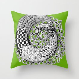 Zentangle Mobius Twist on Sage Green-  to Inspire Creativity and Joy. Throw Pillow