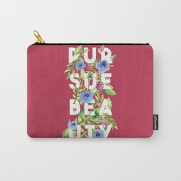 Pursue Beauty - Floral Print - Watercolour Flowers - Pink Typography Carry-All Pouch