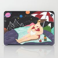 outer space iPad Cases featuring Vacation In Outer Space by Ellie Yeonhee Seo
