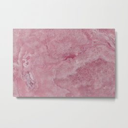 Deep Pink Water Marble Metal Print