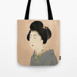 Japanese Art Print - Woman in Blue Kimono Tote Bag