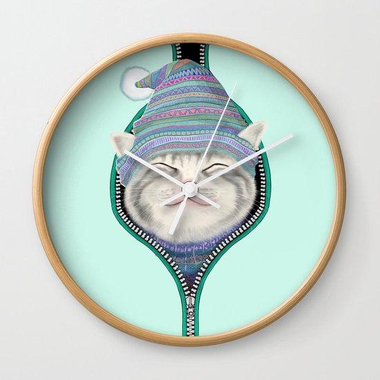 Cat in the zip Wall Clock