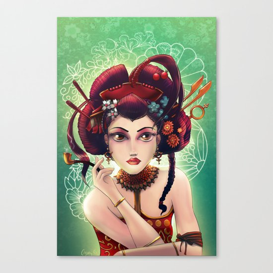 Geisha with a pipe.  Collaboration with Casey Gallant Canvas Print