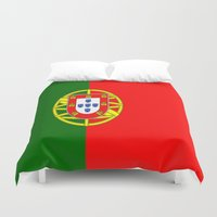 portugal Duvet Covers featuring Flag of Portugal by Neville Hawkins