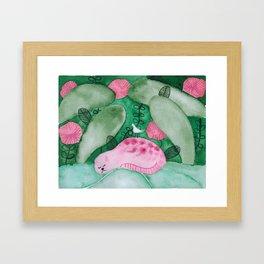 Sleeping pink jungle cat watercolor illustration Framed Art Print
