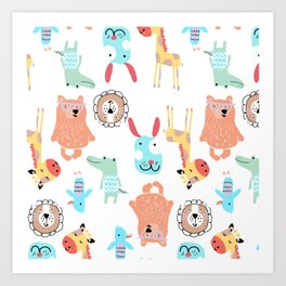 Cute Colorful Youth Print of Adorable Baby Animals Pattern Art Print